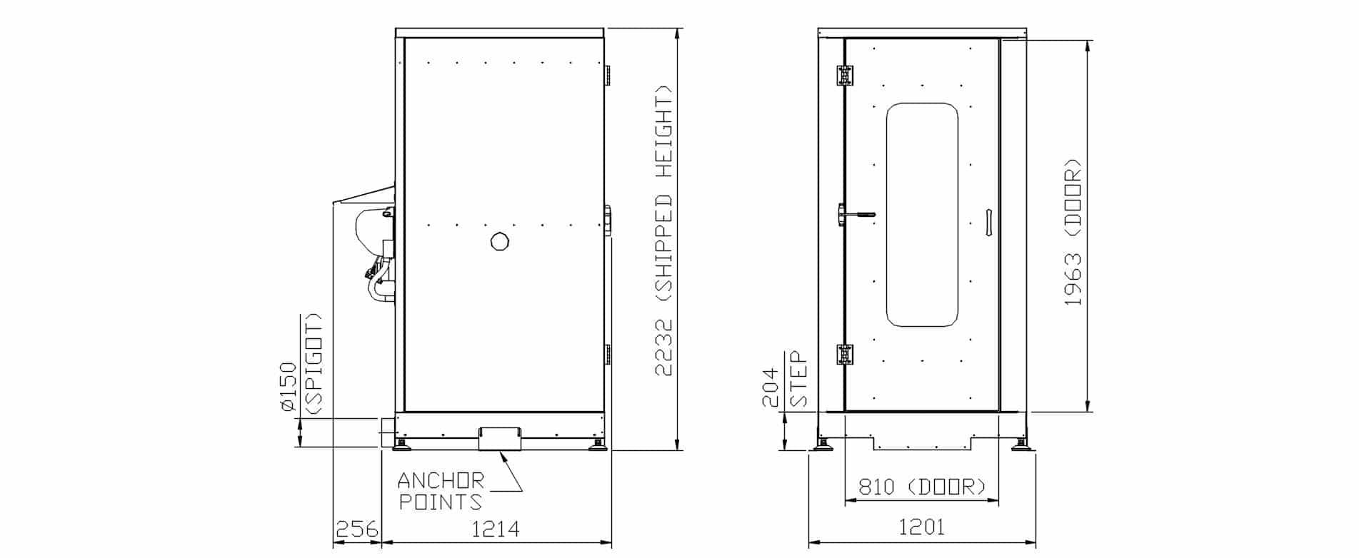 Luftdusche Indoor Dimensionen